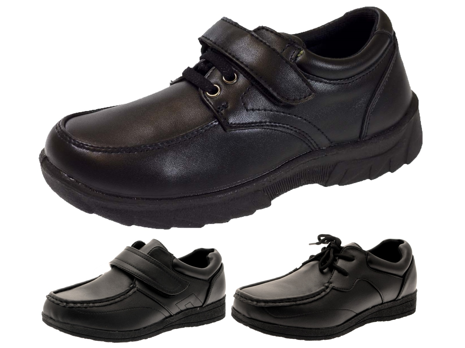 Kids Boys School Shoes Mens Work Black Faux Leather Shoes Casual