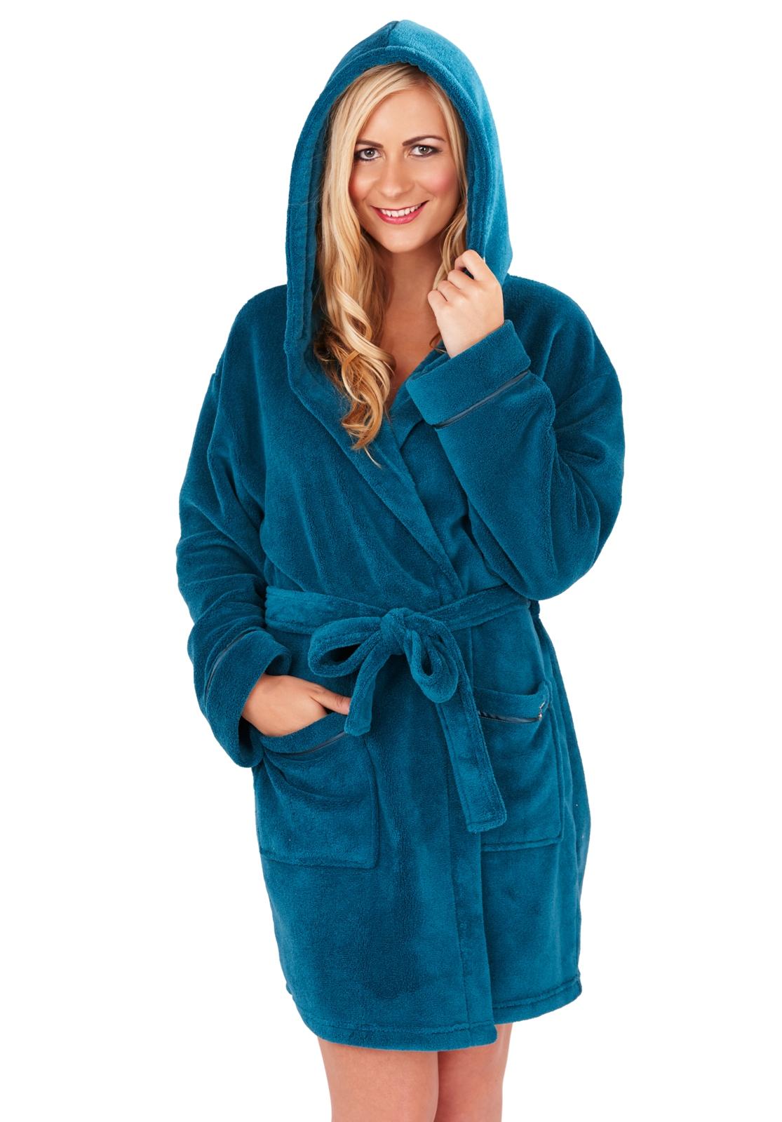 Womens Short Robe Luxury Corel Fleece Hooded Bathrobe Housecoat Wrap ...