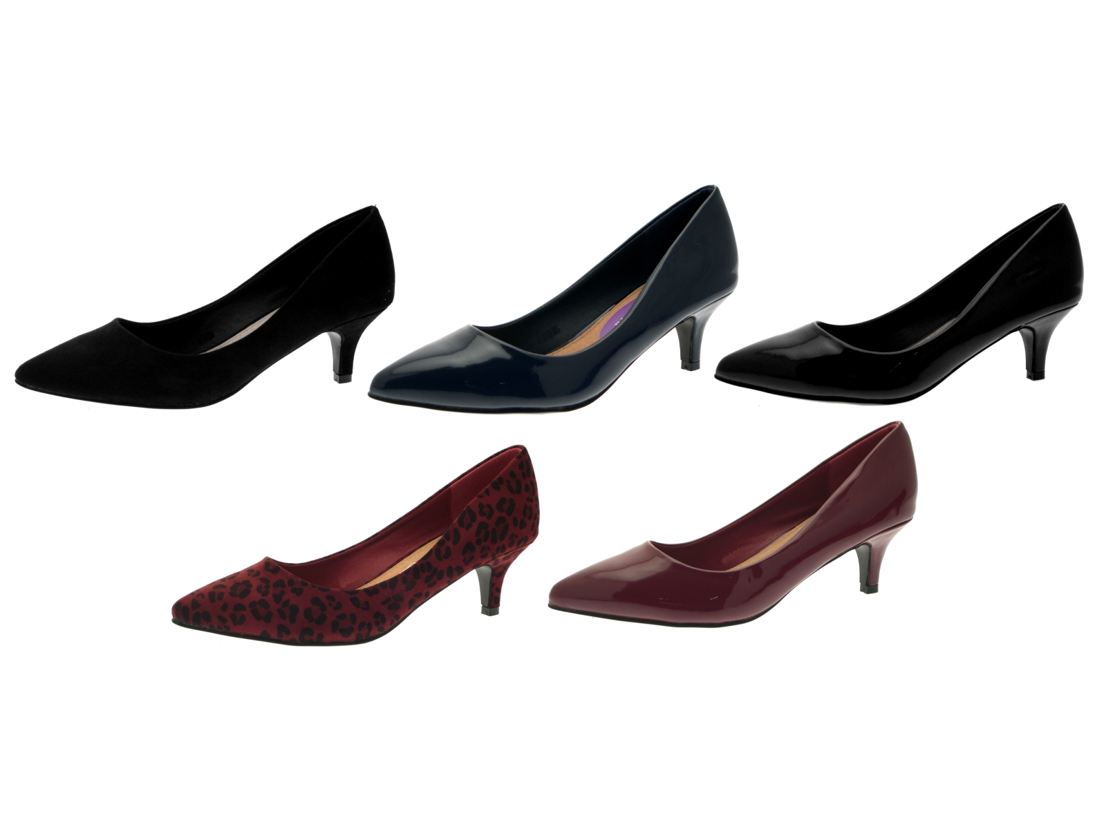 61483918ff Womens Pointed Toe Court Stiletto Kitten Heels Faux Leather Suede ...