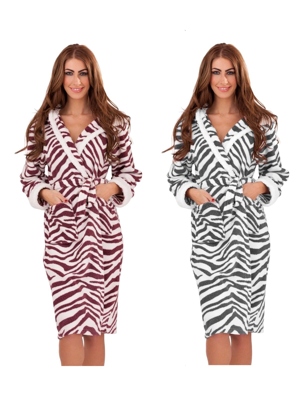 Womens Sherpa Fur Trim Long Zebra Robe Pom Pom Dressing Gown Ladies ...
