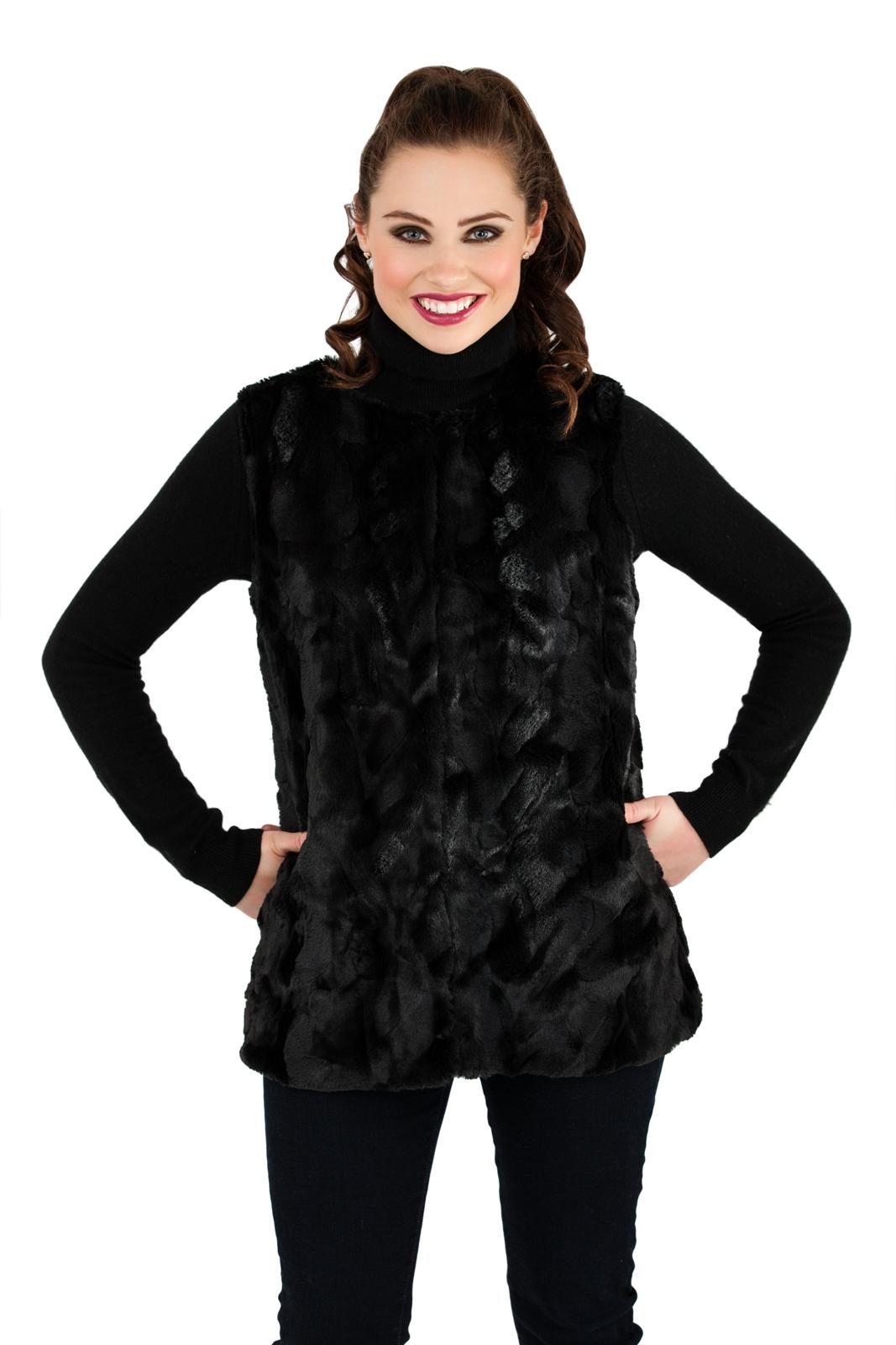 Womens Faux Fur Body Warmer Waistcoat Gilet Sleeveless ...