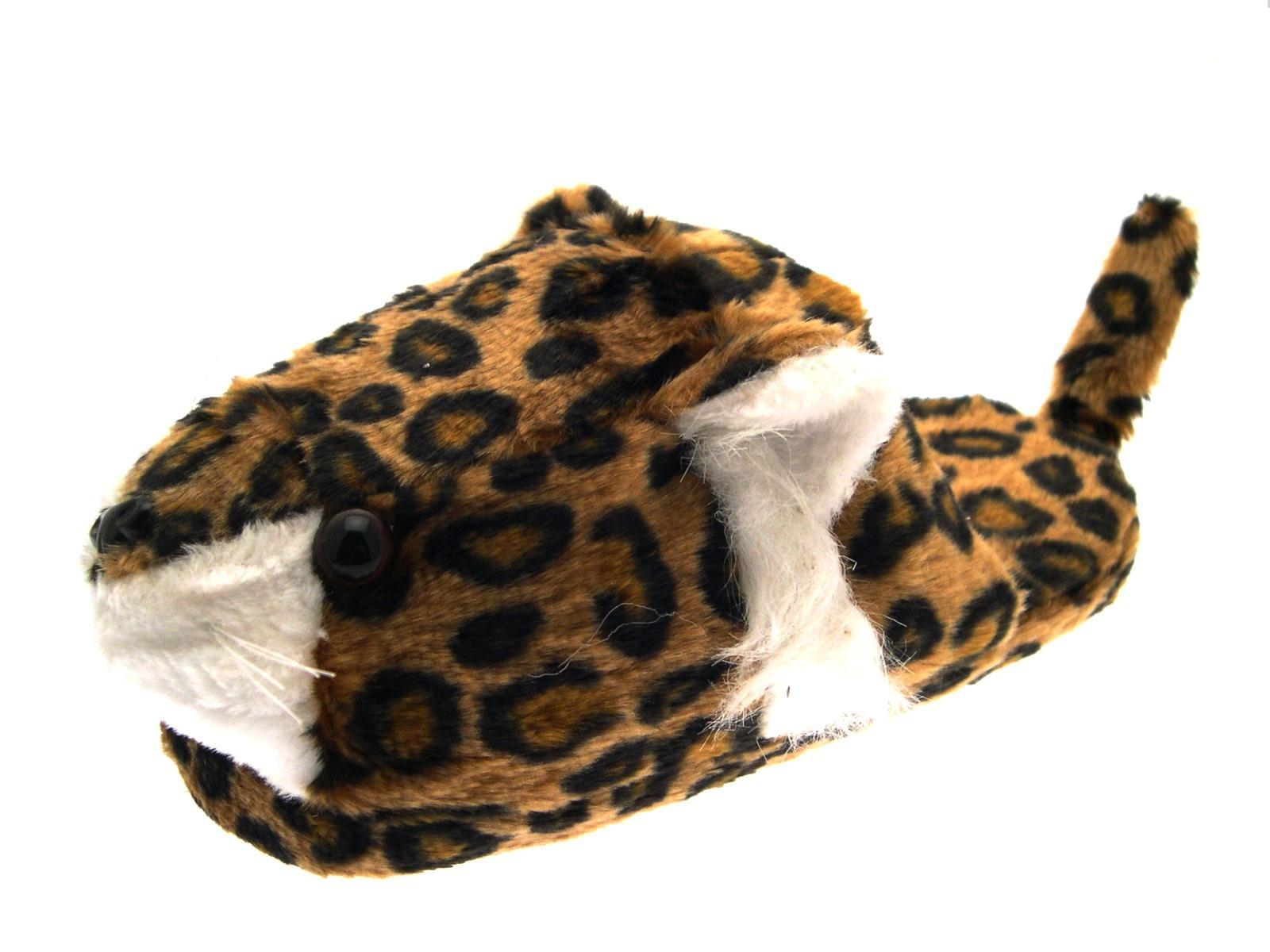 1bbed59f520 Womens Girls Leopard Face 3D Novelty Plush Slippers Booties Xmas Gift Size  3-8