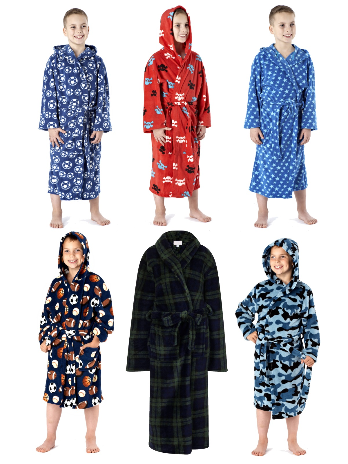 Kids Boys Fleece Bath Robe Dressing Gown Housecoat Childrens Xmas ...
