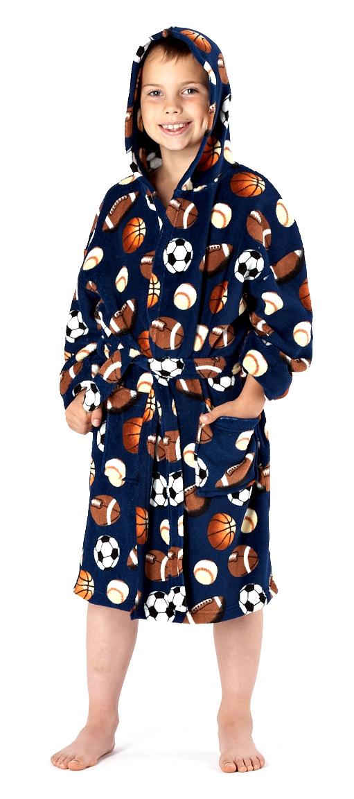 Kids Boys Fleece Bath Robe Dressing Gown Housecoat Childrens Xmas ...