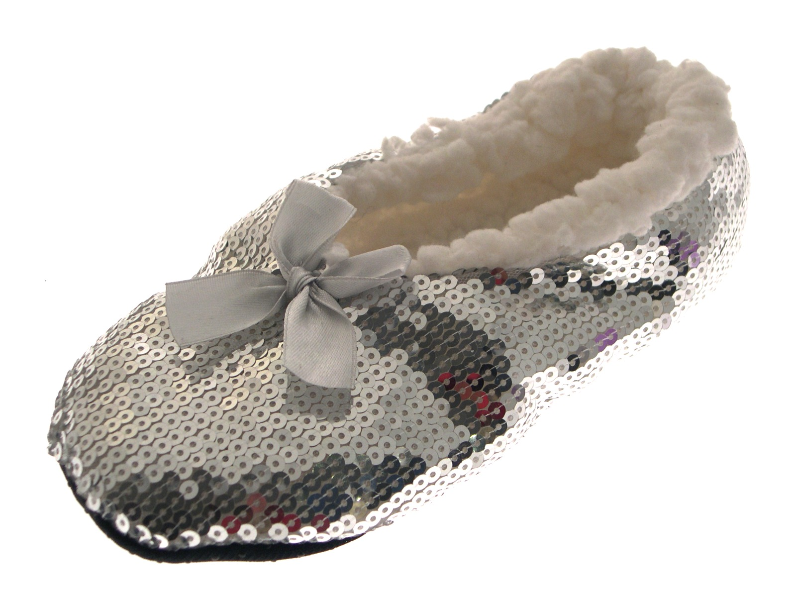 womens sequin sherpa fur lined slipper socks