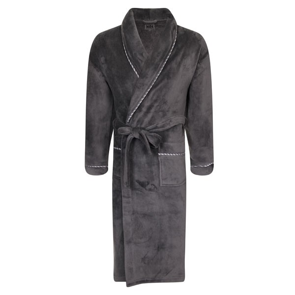 Mens Luxury Dressing Gowns Fleece Bath Robes House Coat Robe Belt