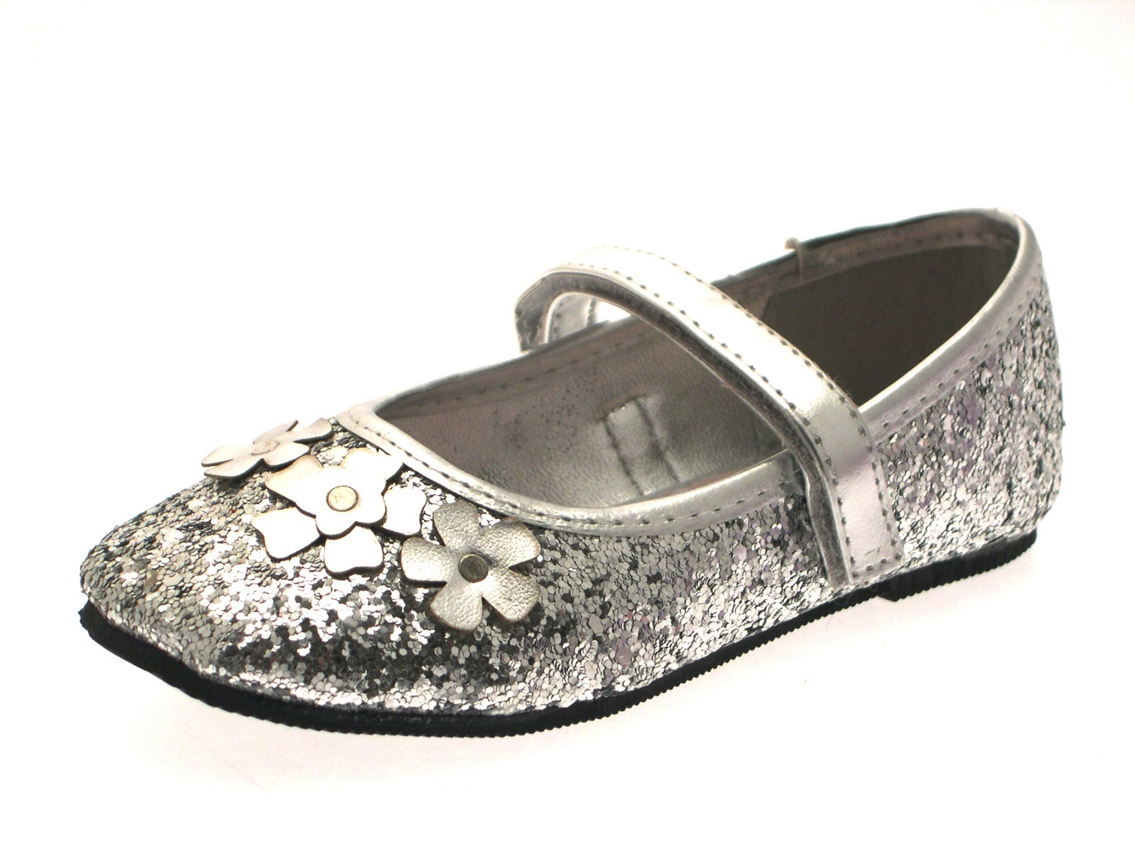 022c9c9877f9 Girls Glitter Flower Party Shoes Mary Janes Flat Ballet Pumps Kids ...