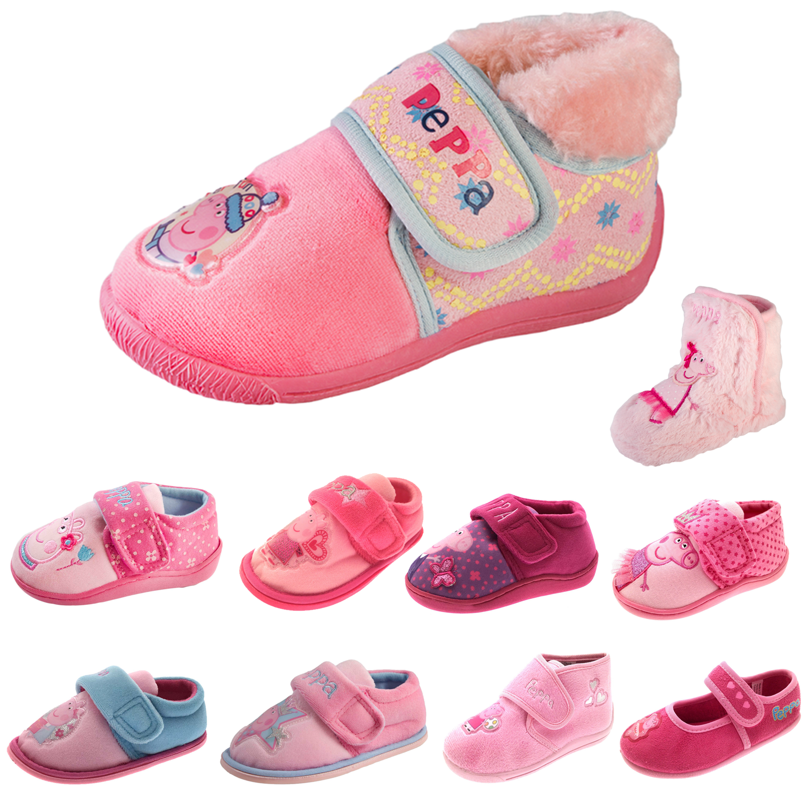 8feaf59f1ac42 Peppa Pig Slippers Girls Pink Booties Character Indoor House Shoes Mules  Size