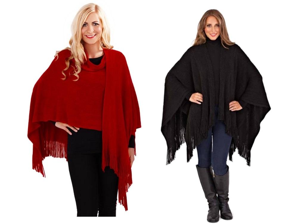 Womens Knitted Shawl Throw Cape Tassels Scarf Coat Wrap