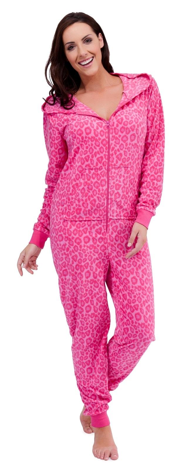 7fb9ed47cb Womens Hooded PJ s All In One Onezee Jumpsuits Pyjamas Ladies Onezie ...