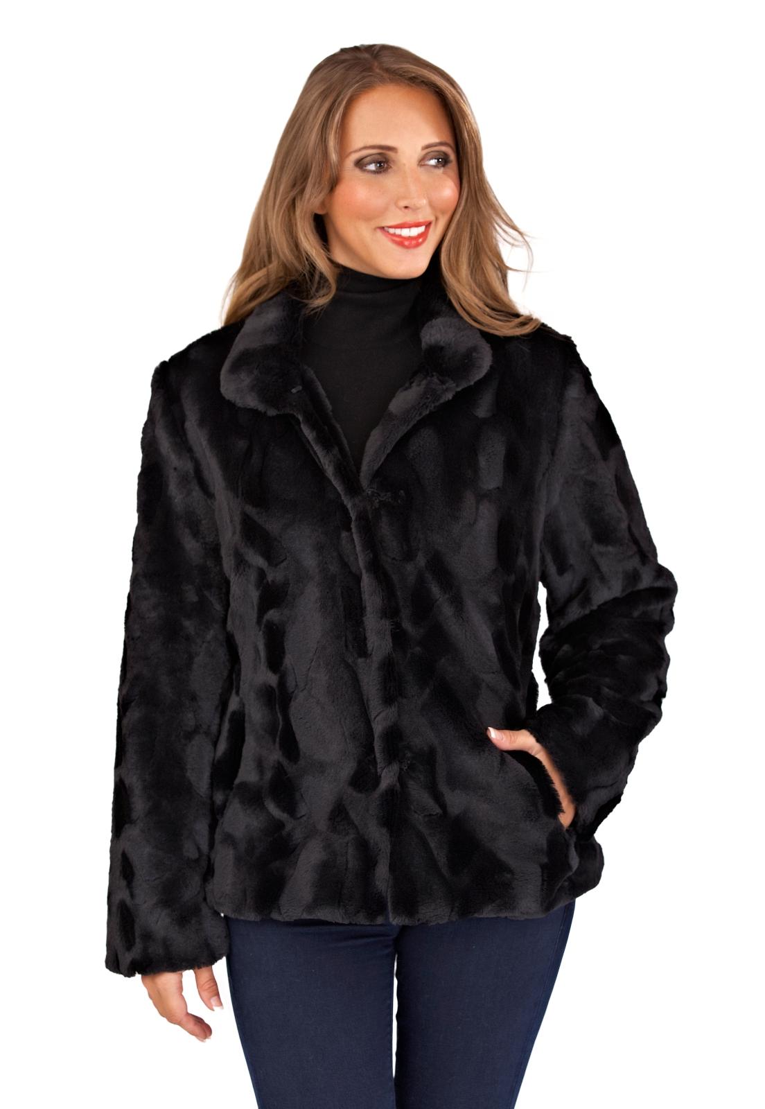 61d615e1892 Womens Faux Fur Coat Warm Winter Fluffy Jacket Evening Party Wrap ...