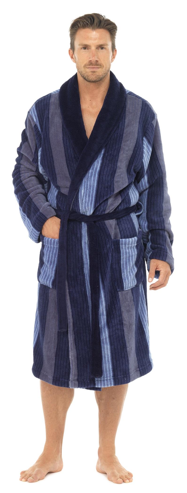 Mens Luxury Full Length Velour Fleece Robe Dressing Gown Boys Gents ... 4ef54a357