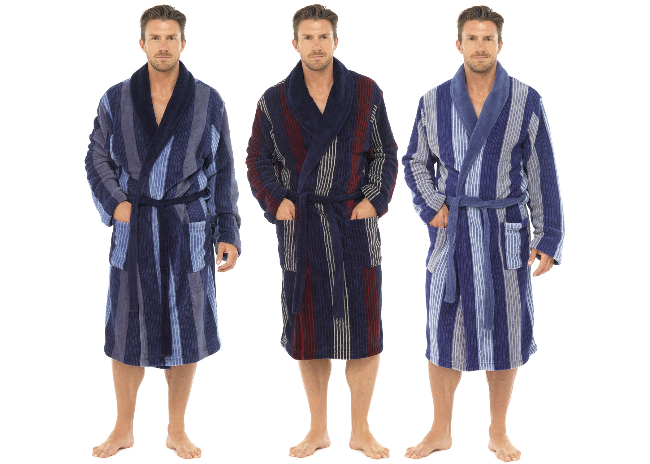 Mens Luxury Full Length Velour Fleece Robe Dressing Gown Boys Gents