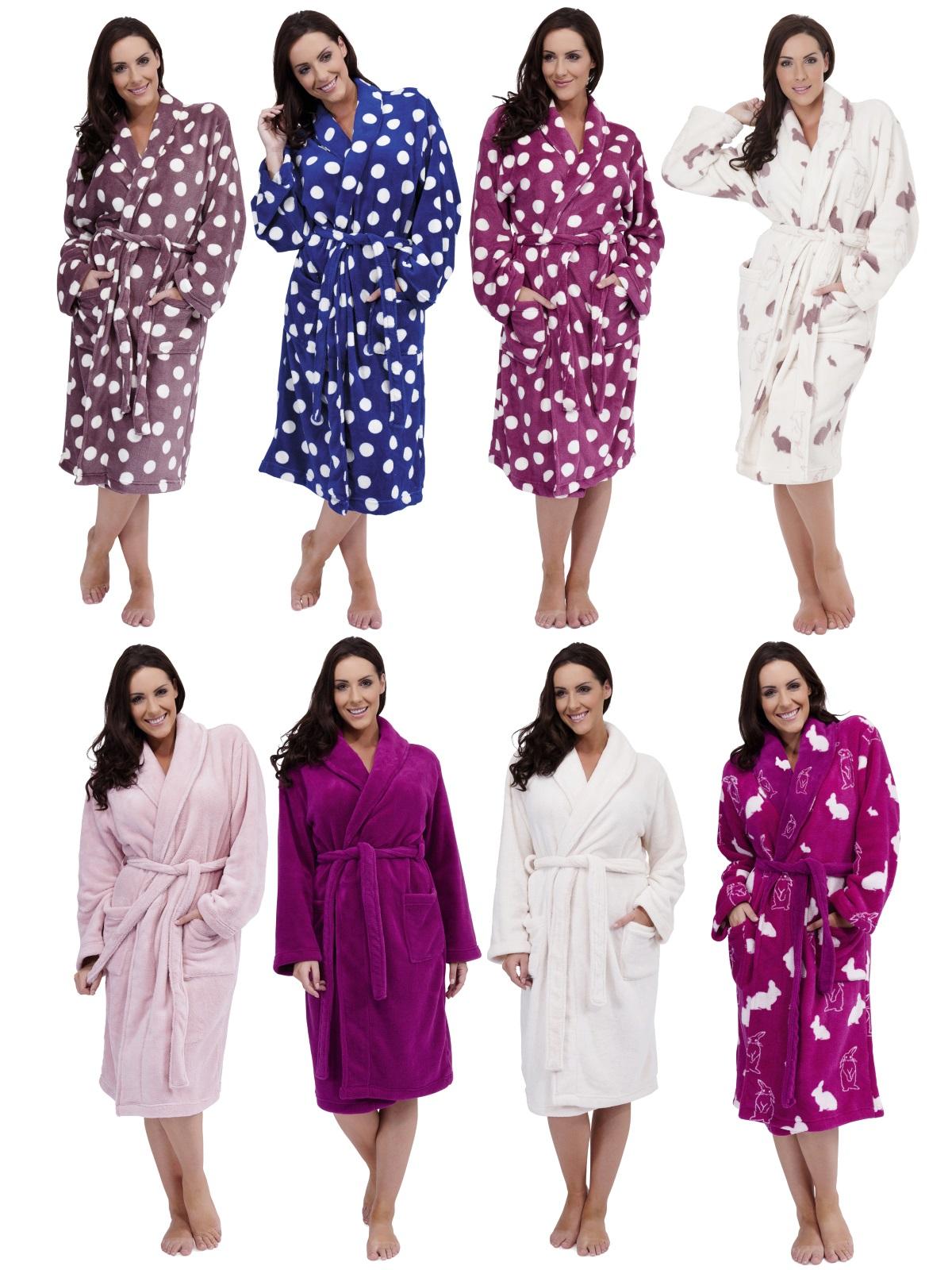 WOMENS FULL LENGTH FLEECE BATH ROBE DRESSING GOWN HOUSECOAT+ BELT LADIES  S M- XL  ee077325d