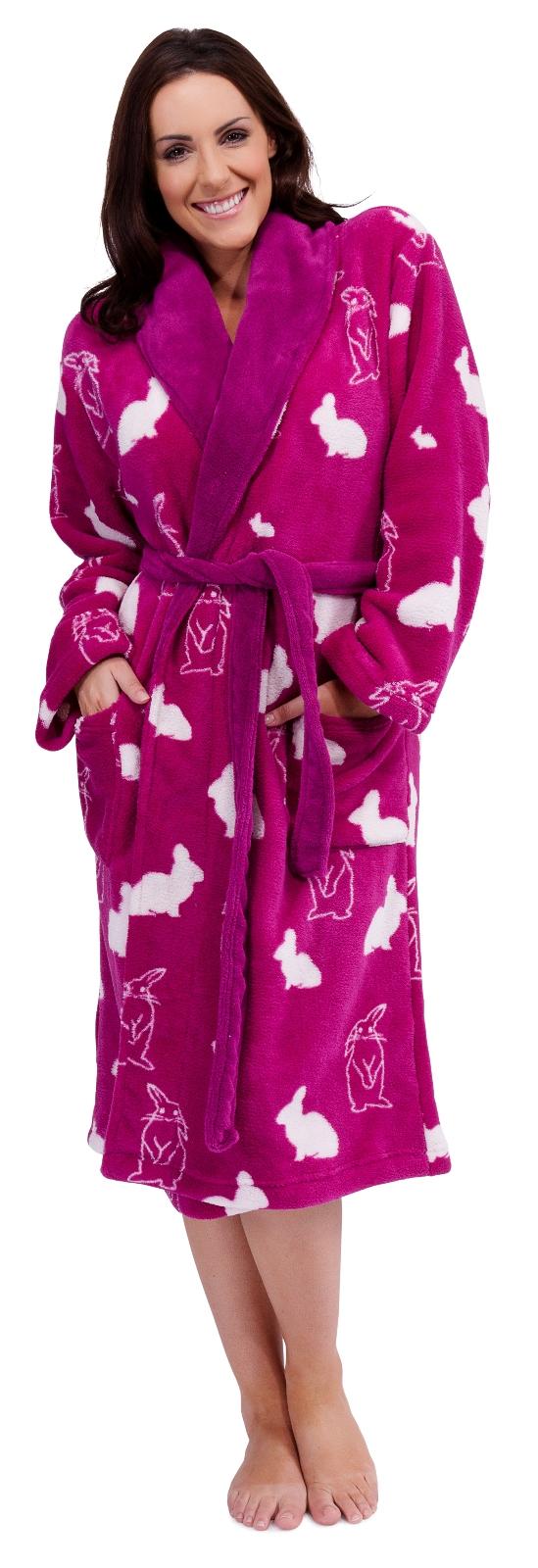 cbd4541804 WOMENS FULL LENGTH FLEECE BATH ROBE DRESSING GOWN HOUSECOAT+ BELT ...