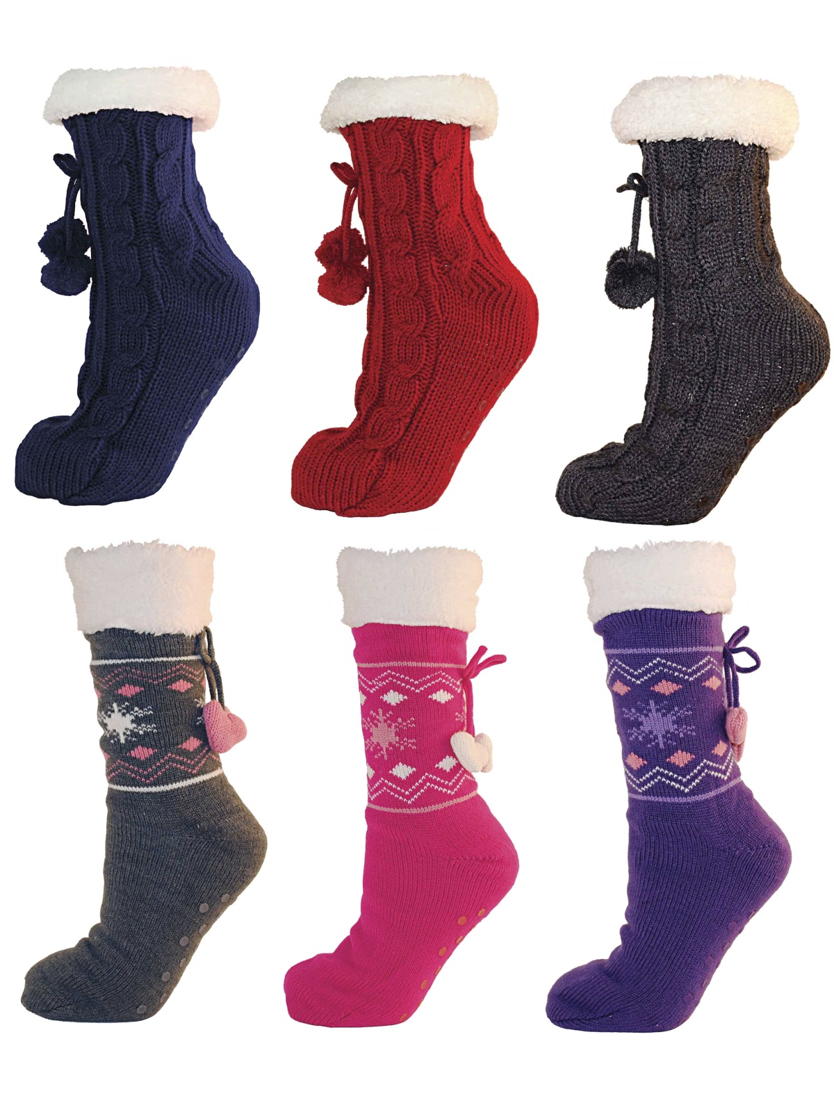 3551be8641e0 Womens Ladies Girls Fur Lined Slipper Socks Lounge Bed Socks Booties Pom  Poms