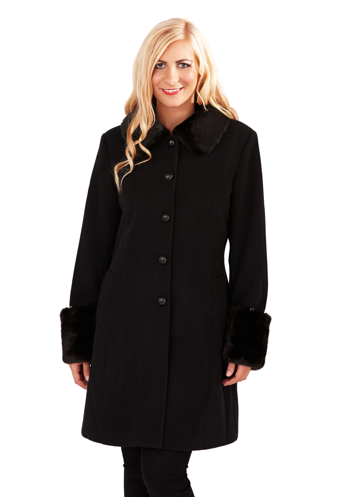 black trench coat faux fur collar