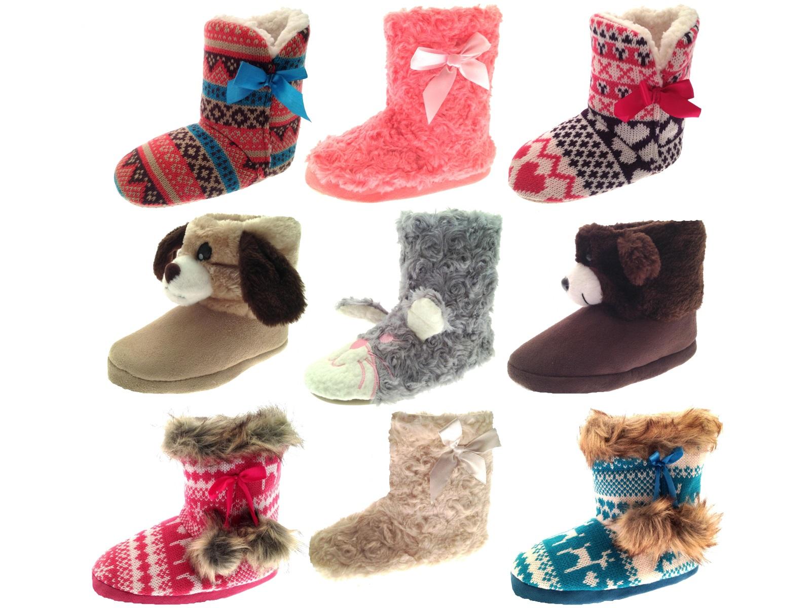 39038c49599f Girls Novelty Slipper Boots Booties Teddy Bear Rabbit Slippers Kids ...