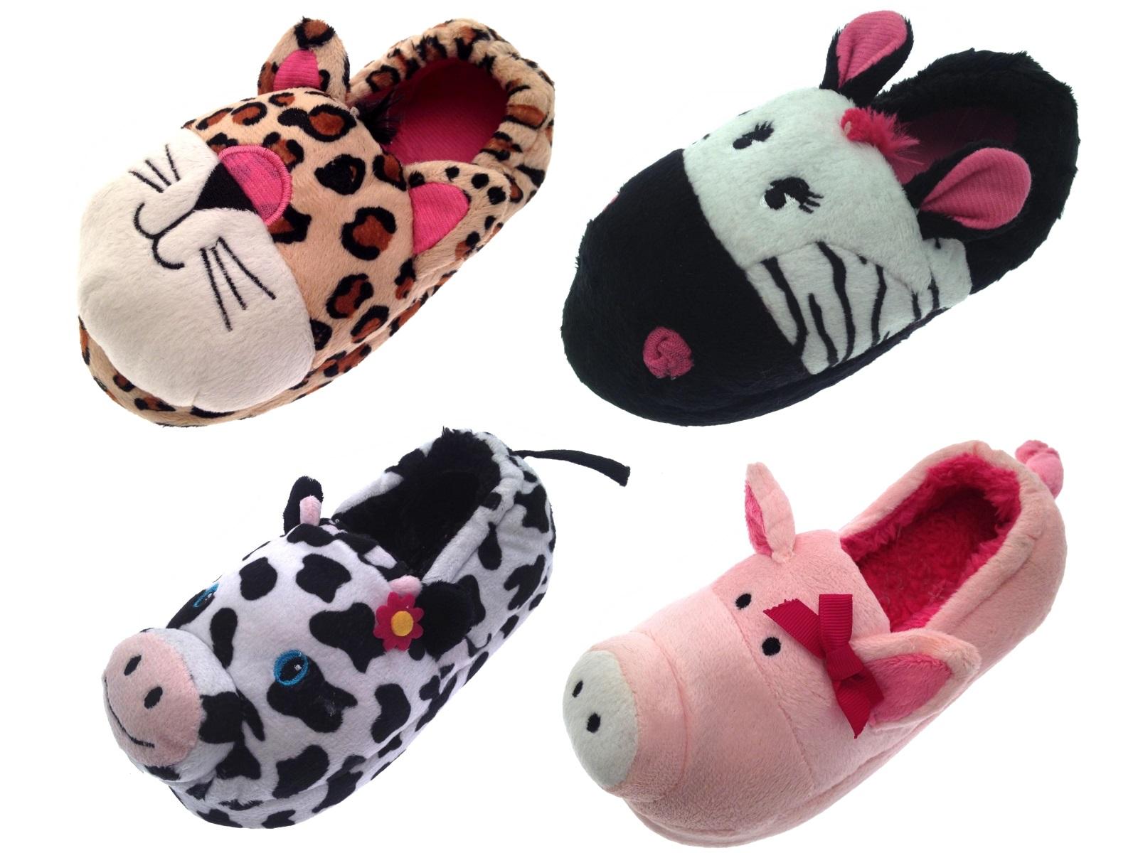 78ace2cc4308 Kids Girls 3D Novelty Slipper Boots Booties Plush Animal Slippers Size UK 9  - 3