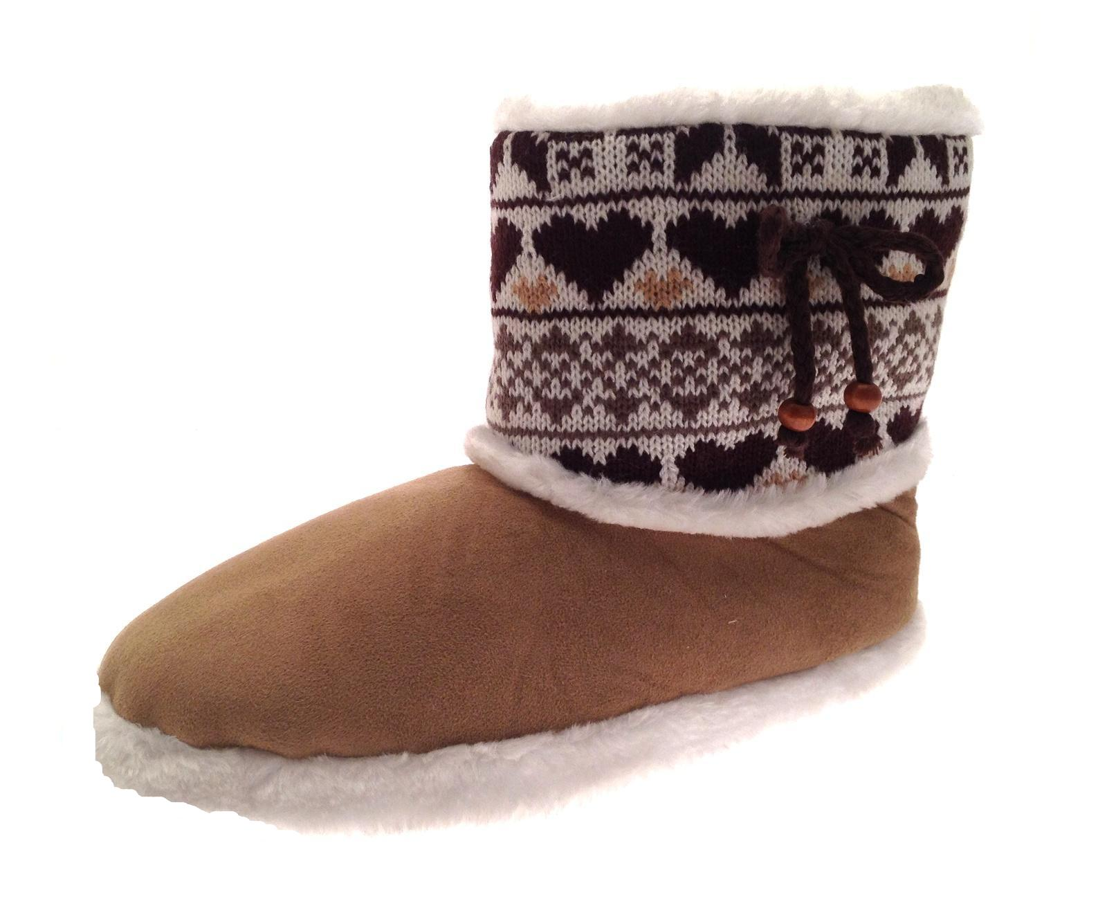 womens slipper boots knitted fur fleece booties