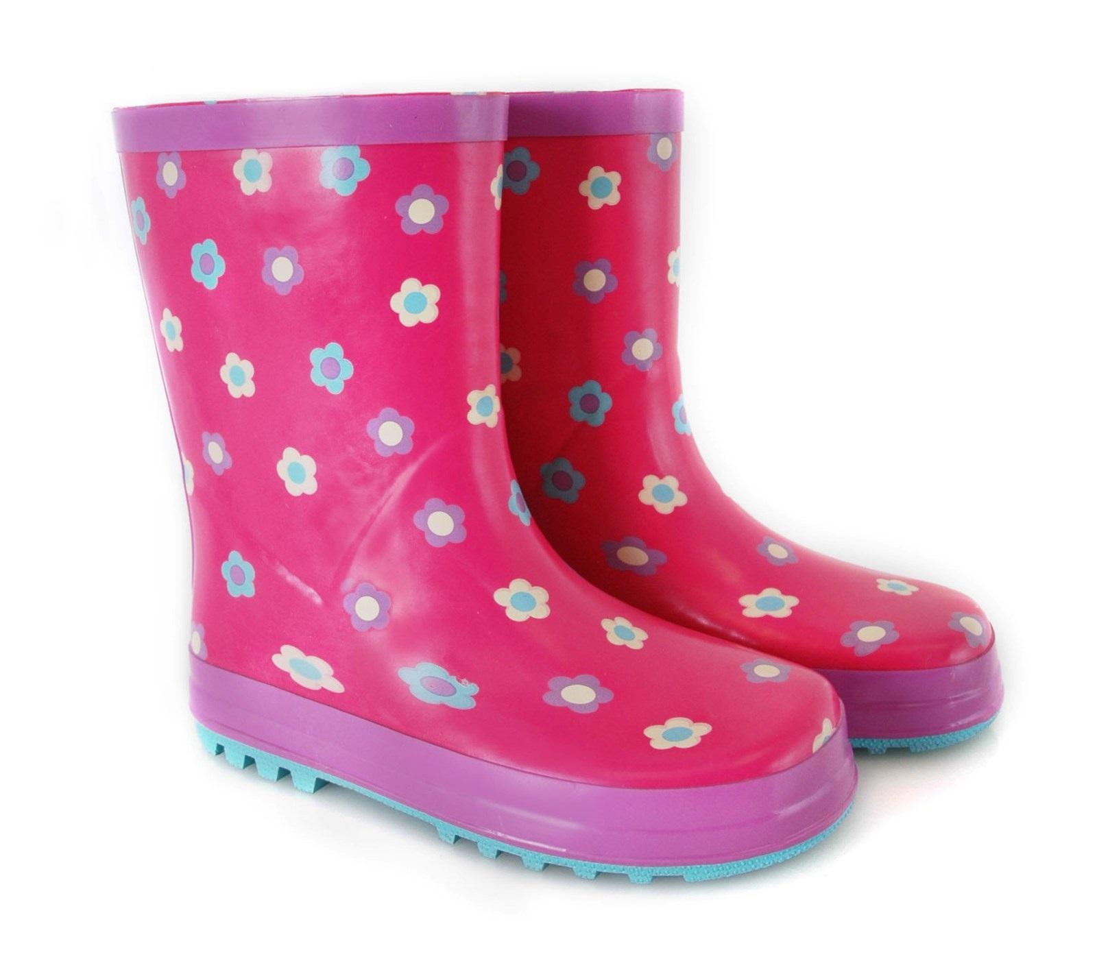 Kids Girls Rubber Rain Snow Boots Wellies Wellingtons ...
