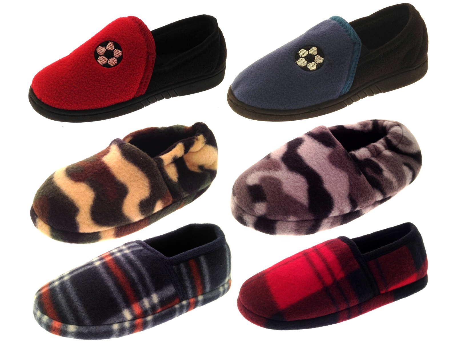 Boys Kids Soft Fleece Slippers Mules Camo/Football/Check Shoes Xmas Gift Size