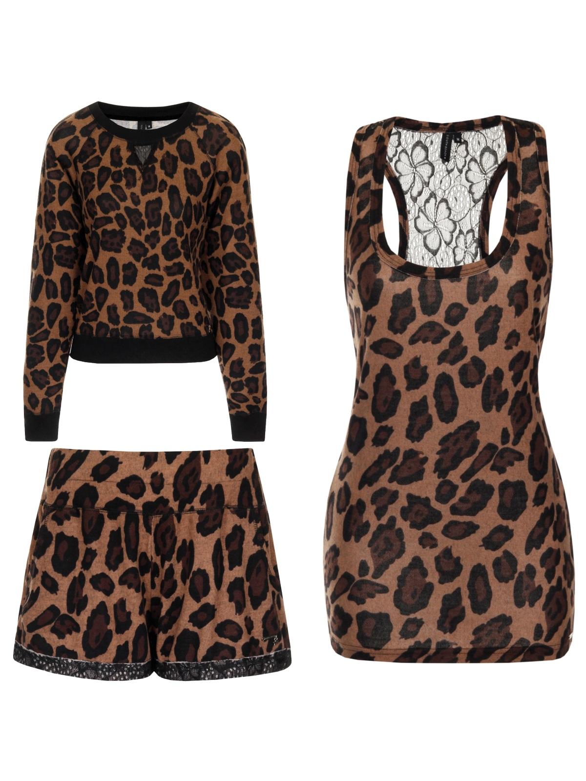 2ca3369fee Womens Leopard Print Lounge Range Shorts Robe Sweatshirt Lace Top Size UK  6-16