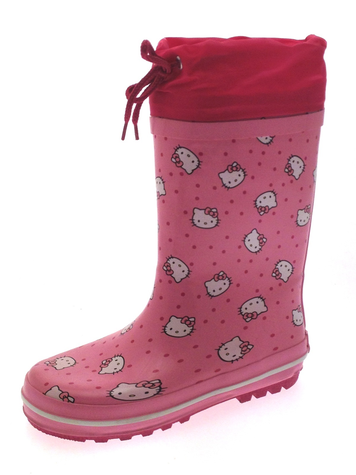 83aed748b8b2 Girls Hello Kitty Tie Top Rubber Snow Boots Wellies Wellingtons Size UK 10  - 13