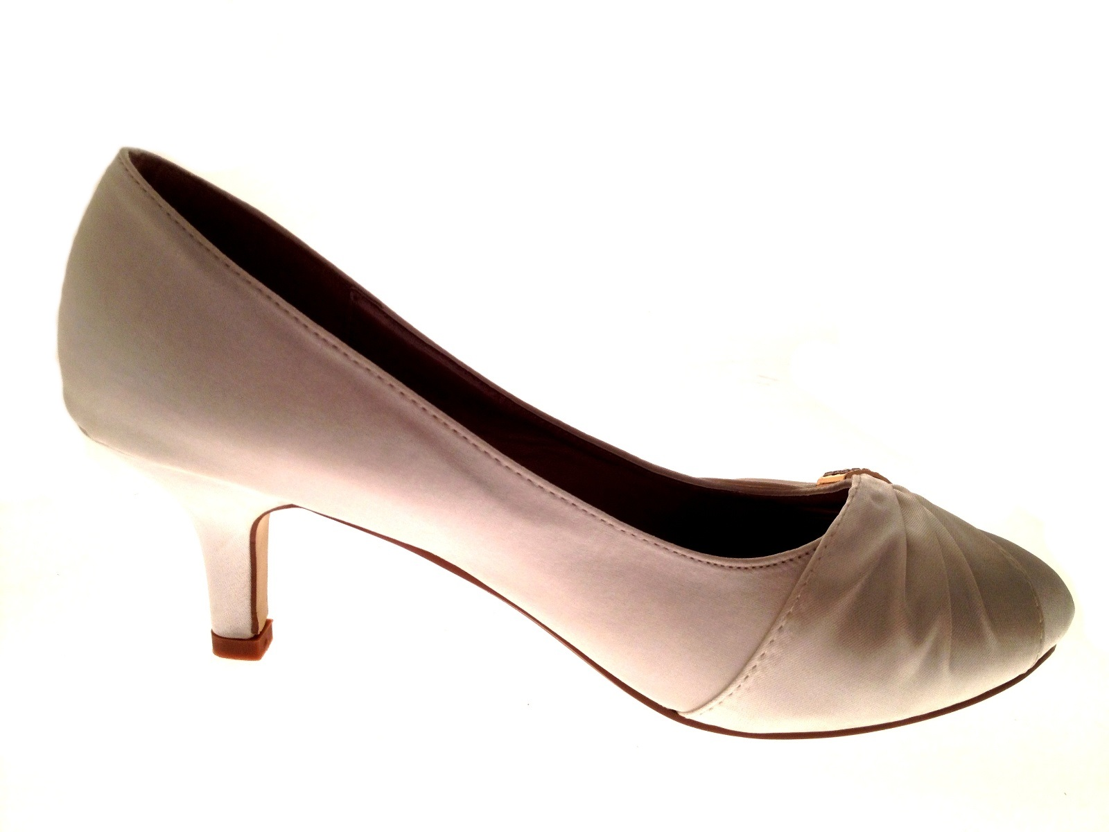 Womens-Low-Heel-Satin-Diamante-Wedding-Heels-Bridal-