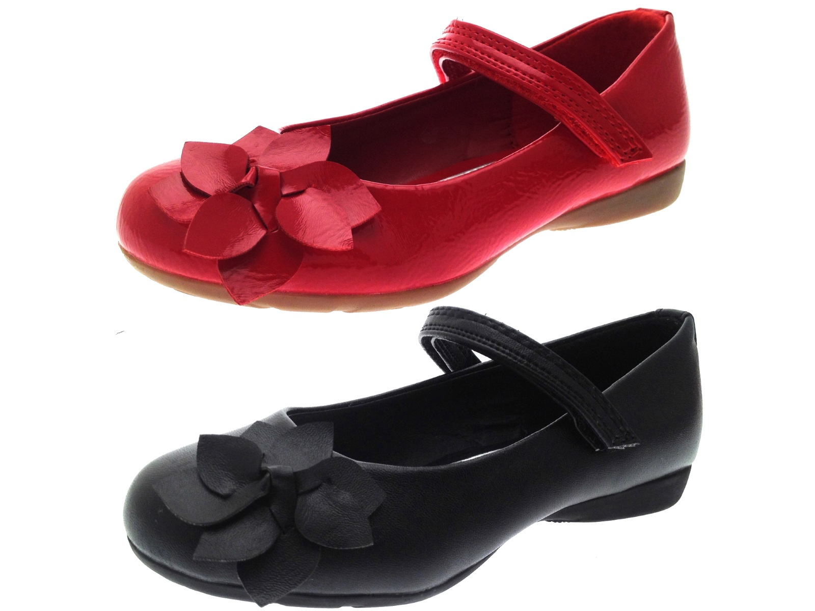 d836cda5ff9 Girls Faux Leather Party Shoes Mary Janes Flower School Childrens Size UK 6  - 12