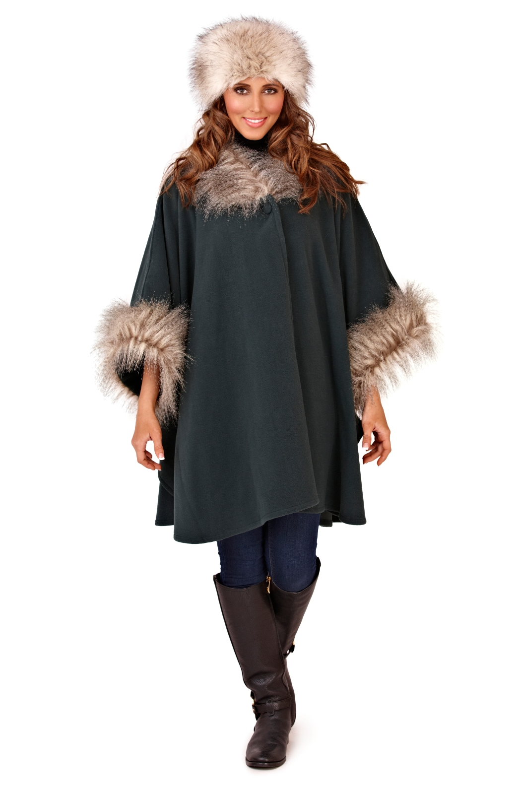 less than half price womens fur collar shawl ladies poncho