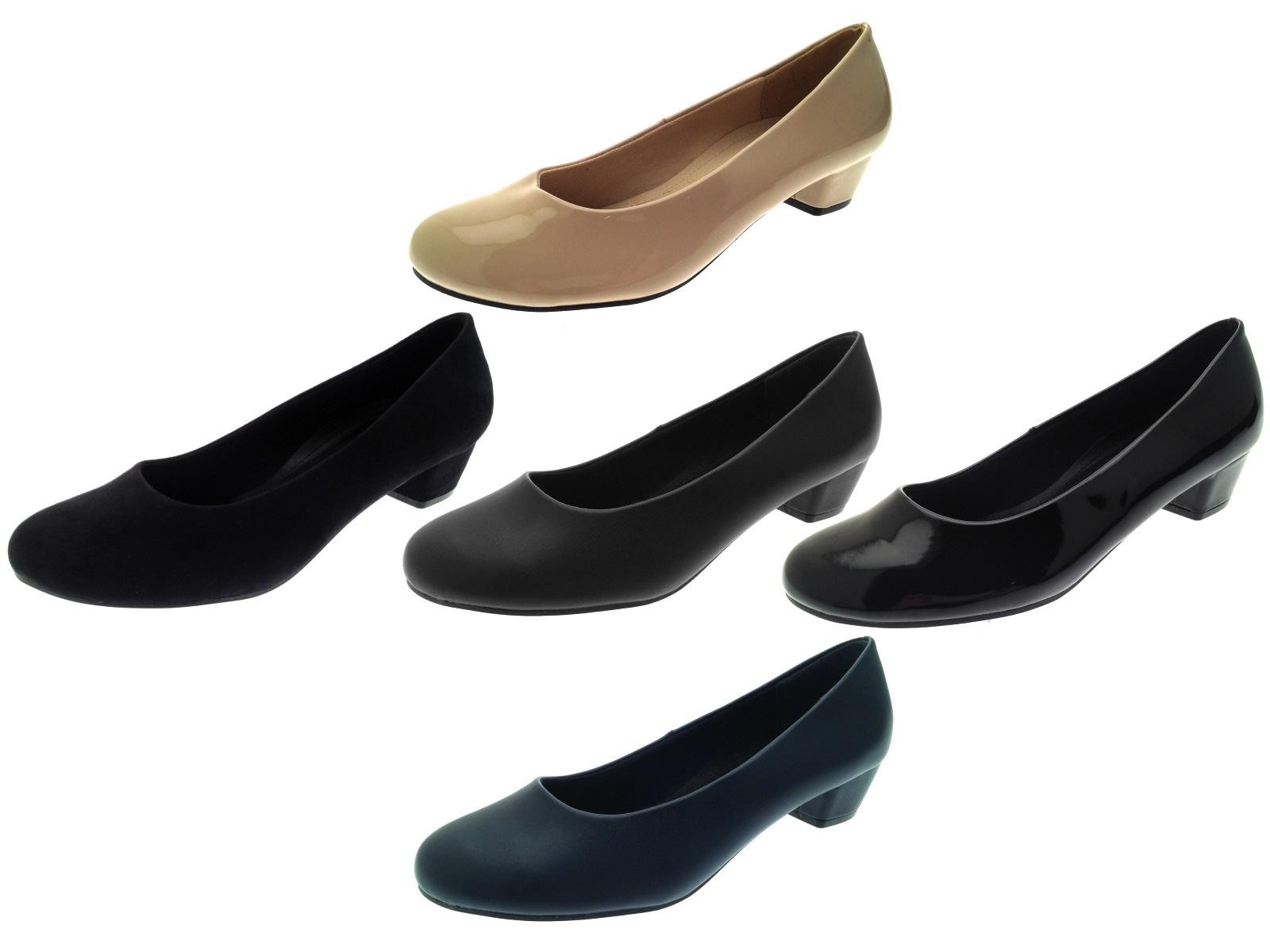 Womens Low Block Heels Comfort Work Office Loafers Smart Court Shoes ... 2227553738
