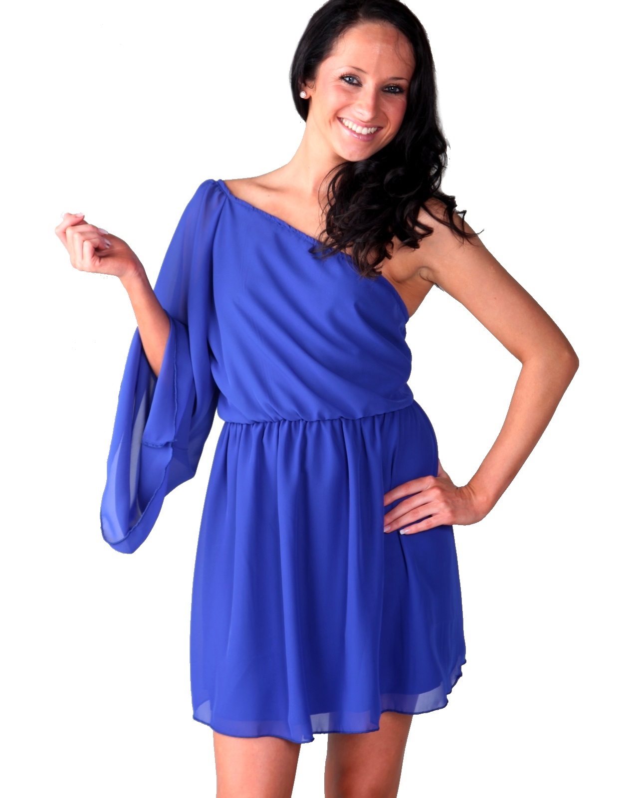 Chiffon Short Royal Blue Slanted Dress