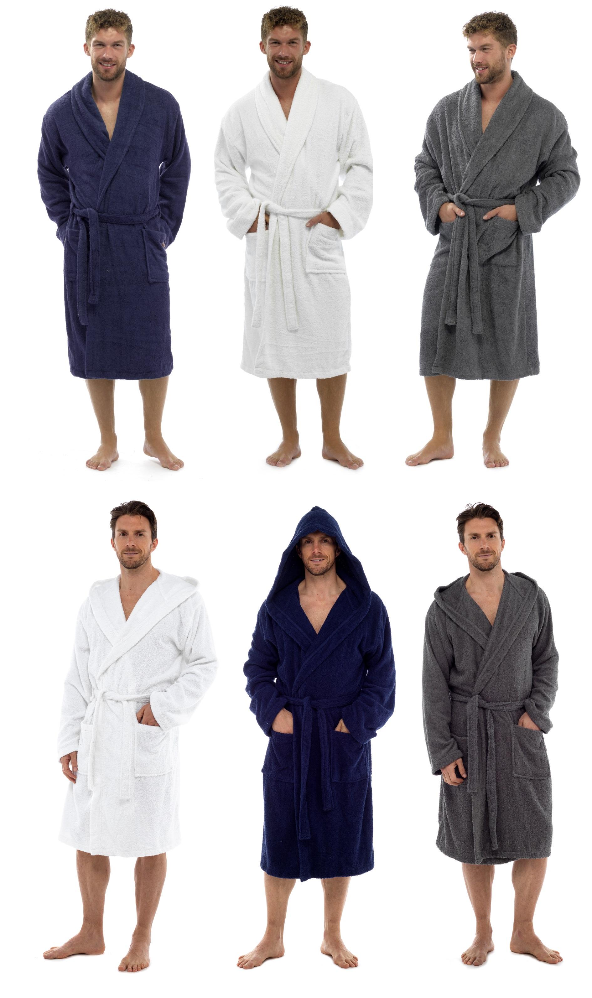 Mens Pure 100% Cotton Luxury Towelling Bath Robes Dressing Gowns Size UK M  - XL 925e184e1
