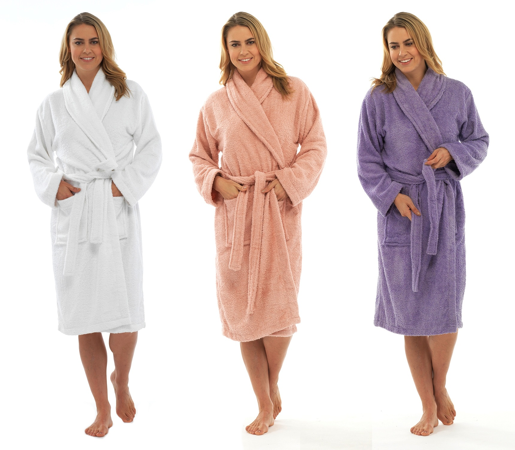 Womens Pure 100 Cotton Luxury Towelling Bath Robes Dressing Gowns