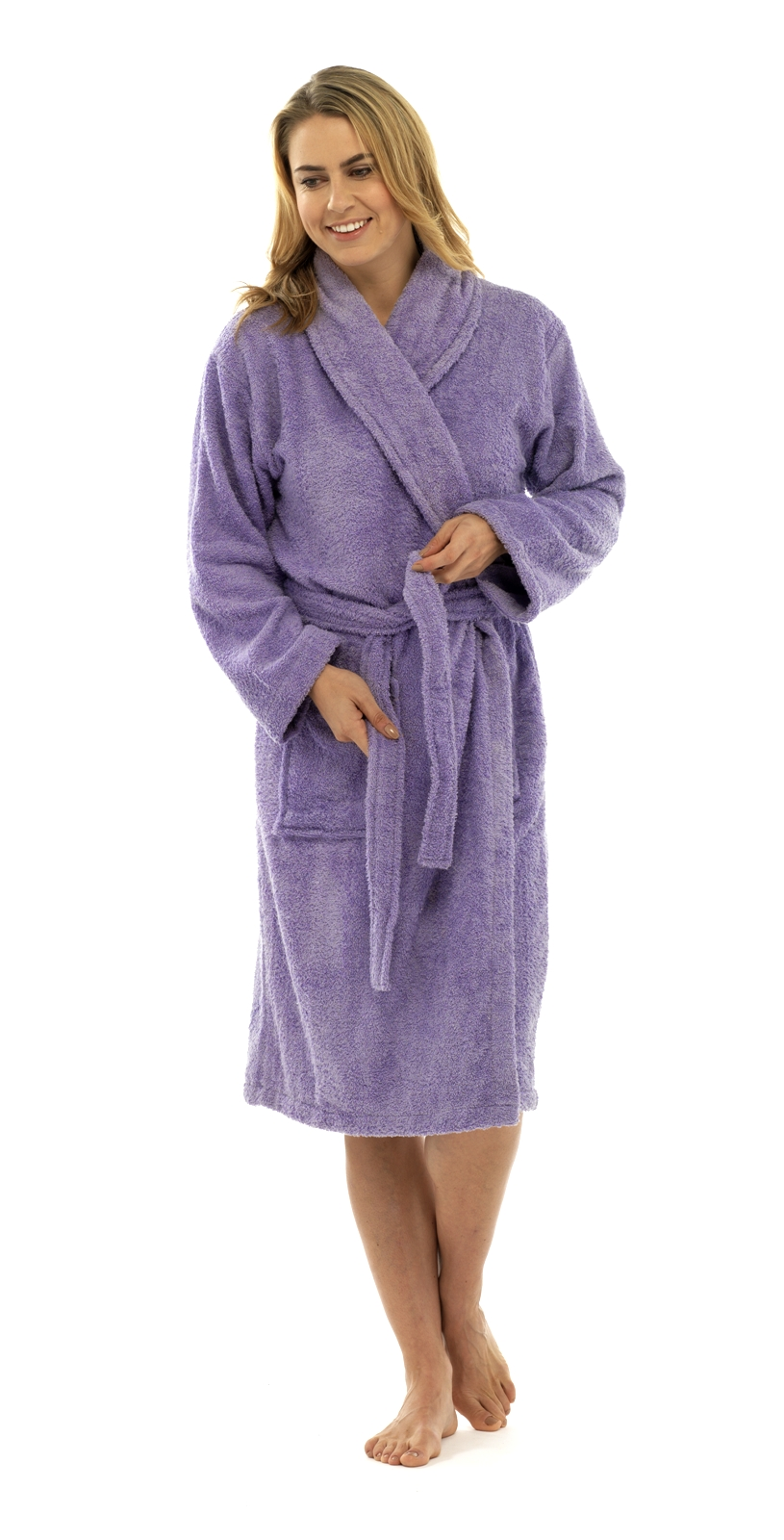 Womens Pure 100% Cotton Luxury Towelling Bath Robes Dressing Gowns ... a1df7fe62