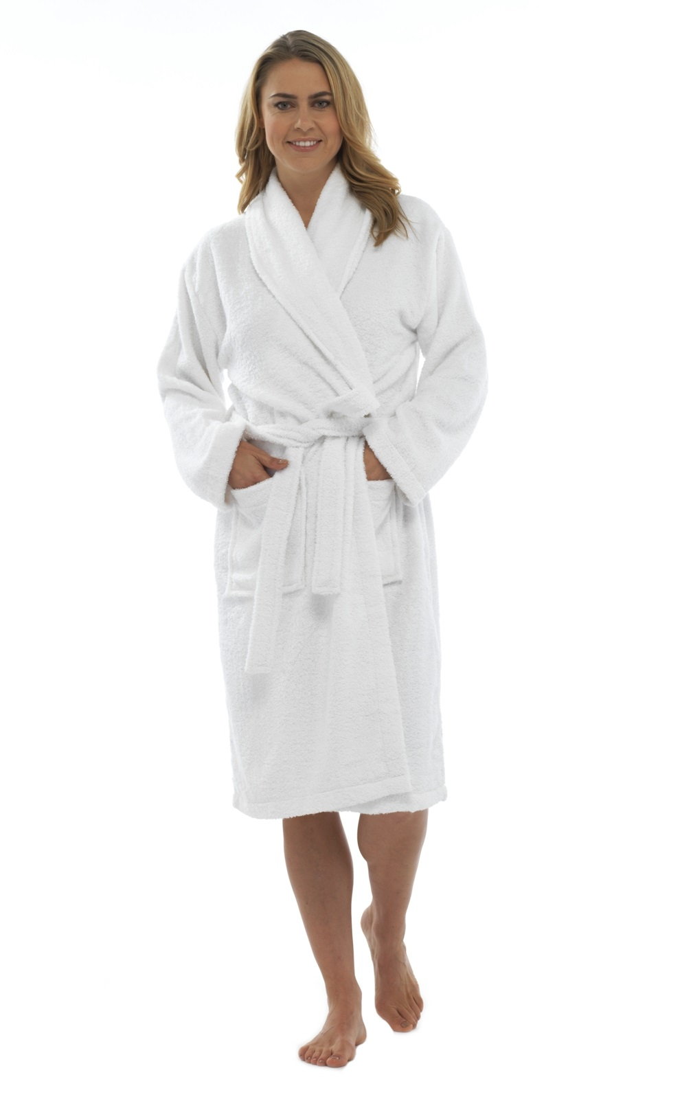 Womens Pure 100% Cotton Luxury Towelling Bath Robes ...