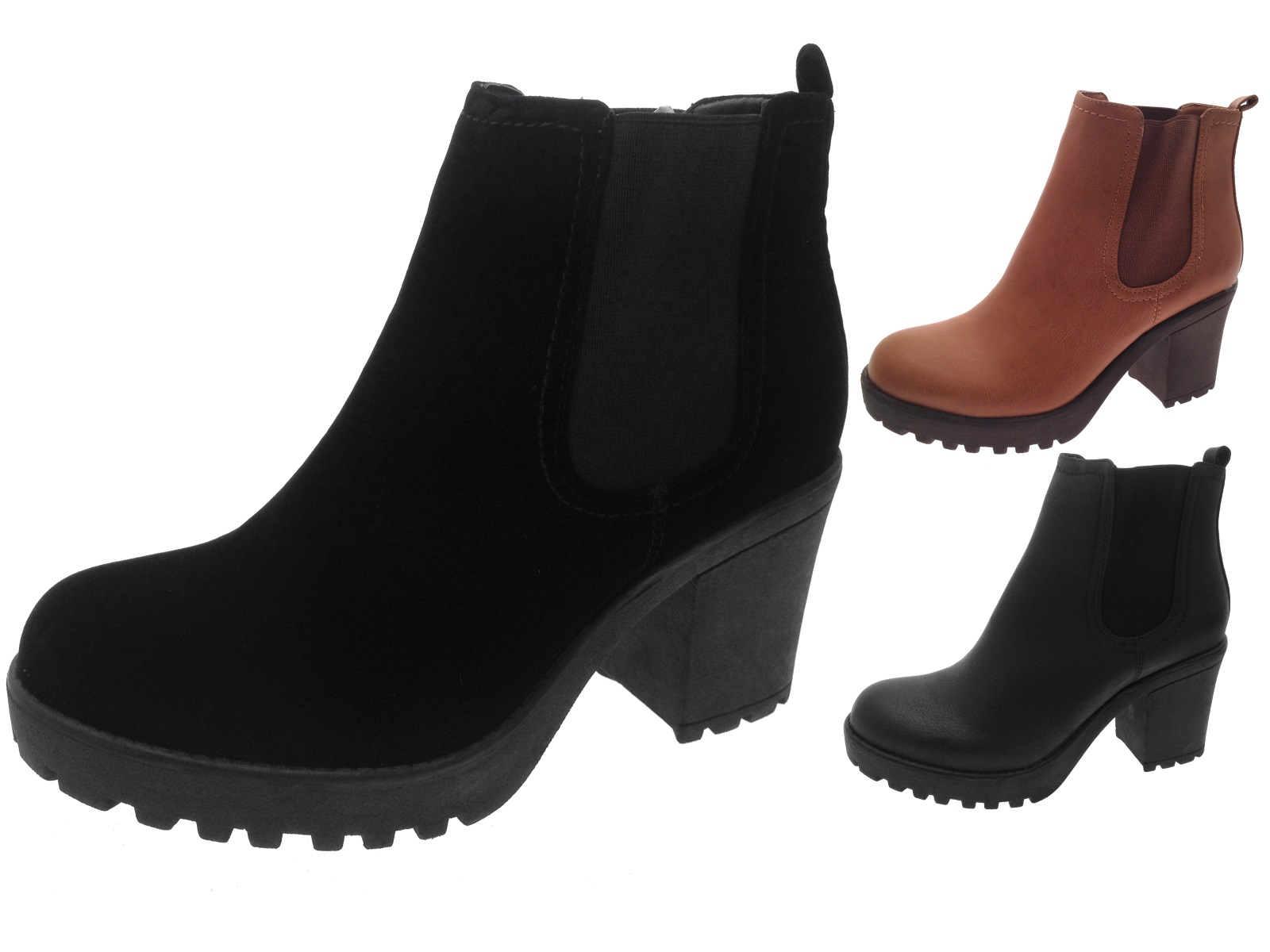 7e14d444f90fc Womens Mid Chunky Block Heel Chelsea Low Ankle Boots Platform Ladies ...