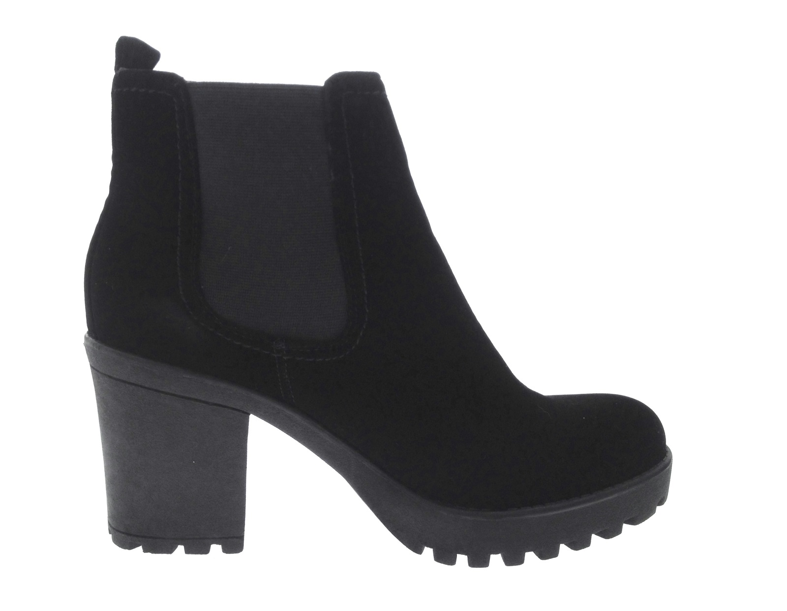 Womens Ladies Chunky Block High Heel Shoes Platform Ankle Chelsea Boots Shoes