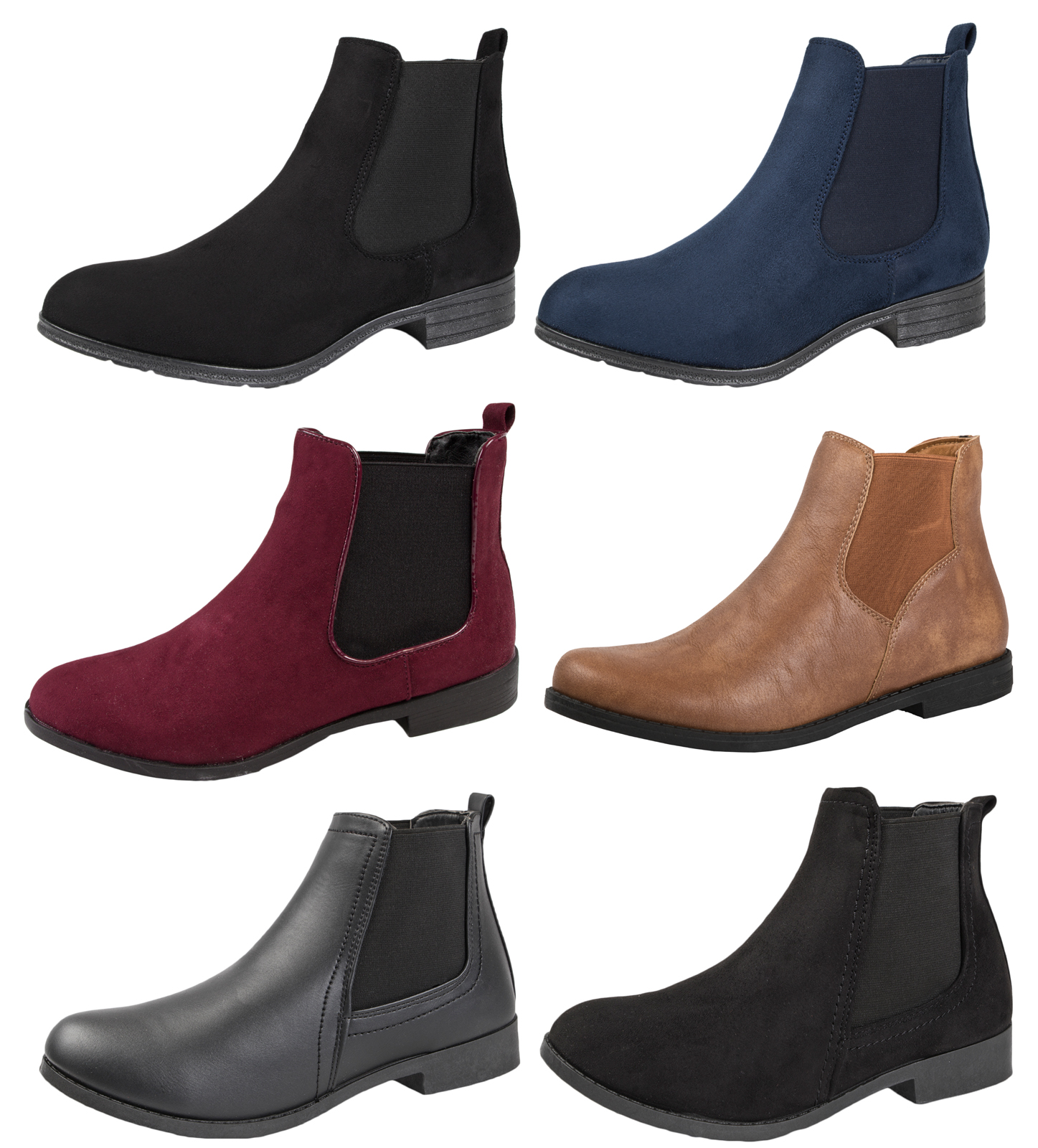 Womens Faux Leather Suede Flat Low Gusset Chelsea Ankle Boots Winter Shoes Size
