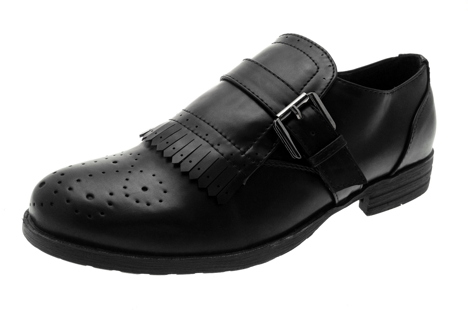 3fd7d807973eb Womens Low Block Heel Brogues Buckle Work Loafers Casual Ladies Shoes Size