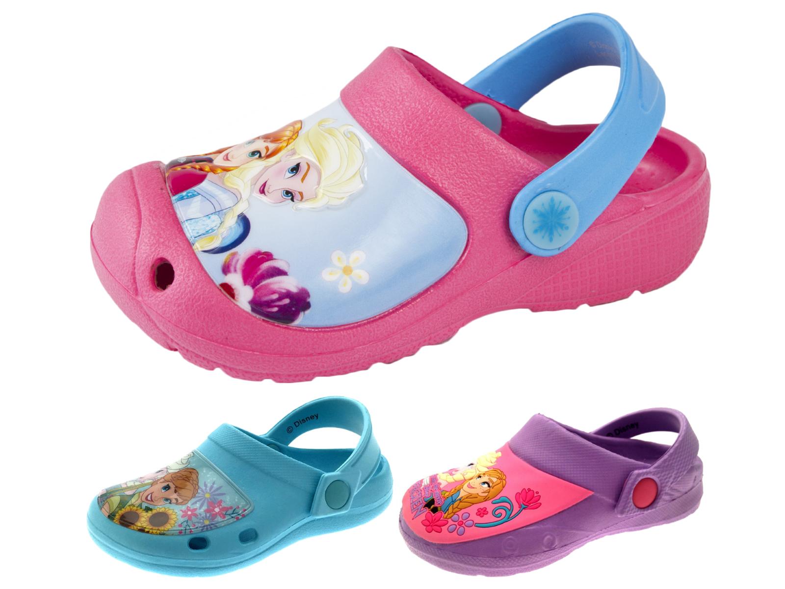Girls Pink Frozen Elsa Anna Clogs Beach Sandals Mules Cloggs Kids