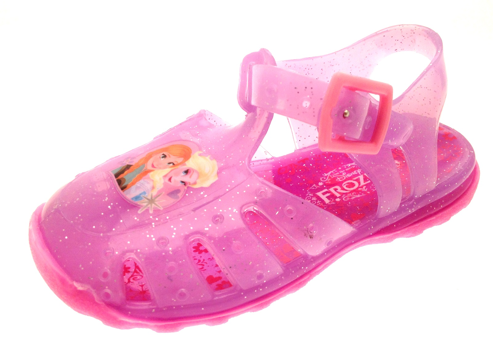 74aeb154fe6 Girls Pink Frozen Elsa Jelly Shoes Beach Glitter Sandals Jellies Kids Size  3 - 9