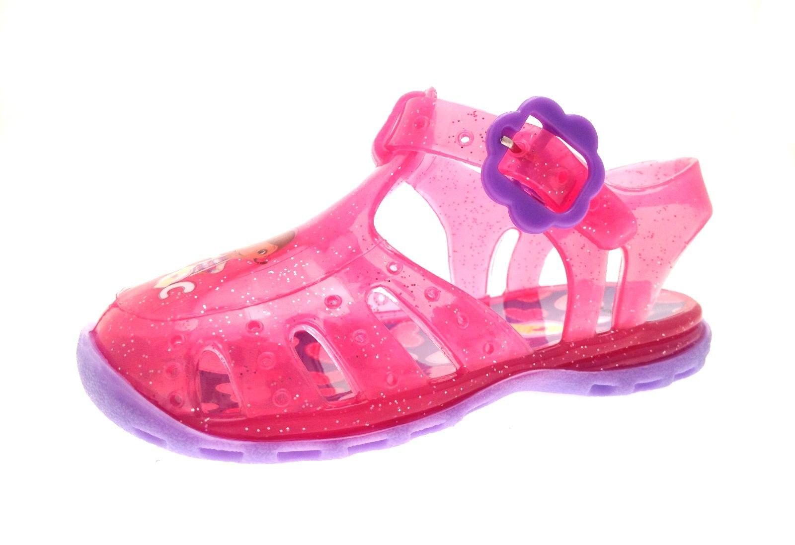 4e66cbd55e2 Girls Pink Doc McStuffins Glitter Jelly Shoes Beach Sandals Jellies ...