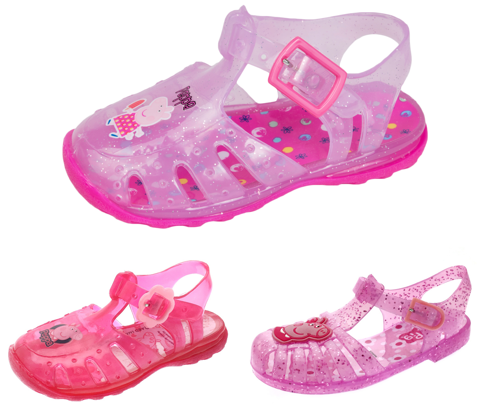 cb46fce3ff0b Girls Pink Glitter Peppa Pig Jelly Sandals Beach Jellies Kids Shoes Size UK  3 -9