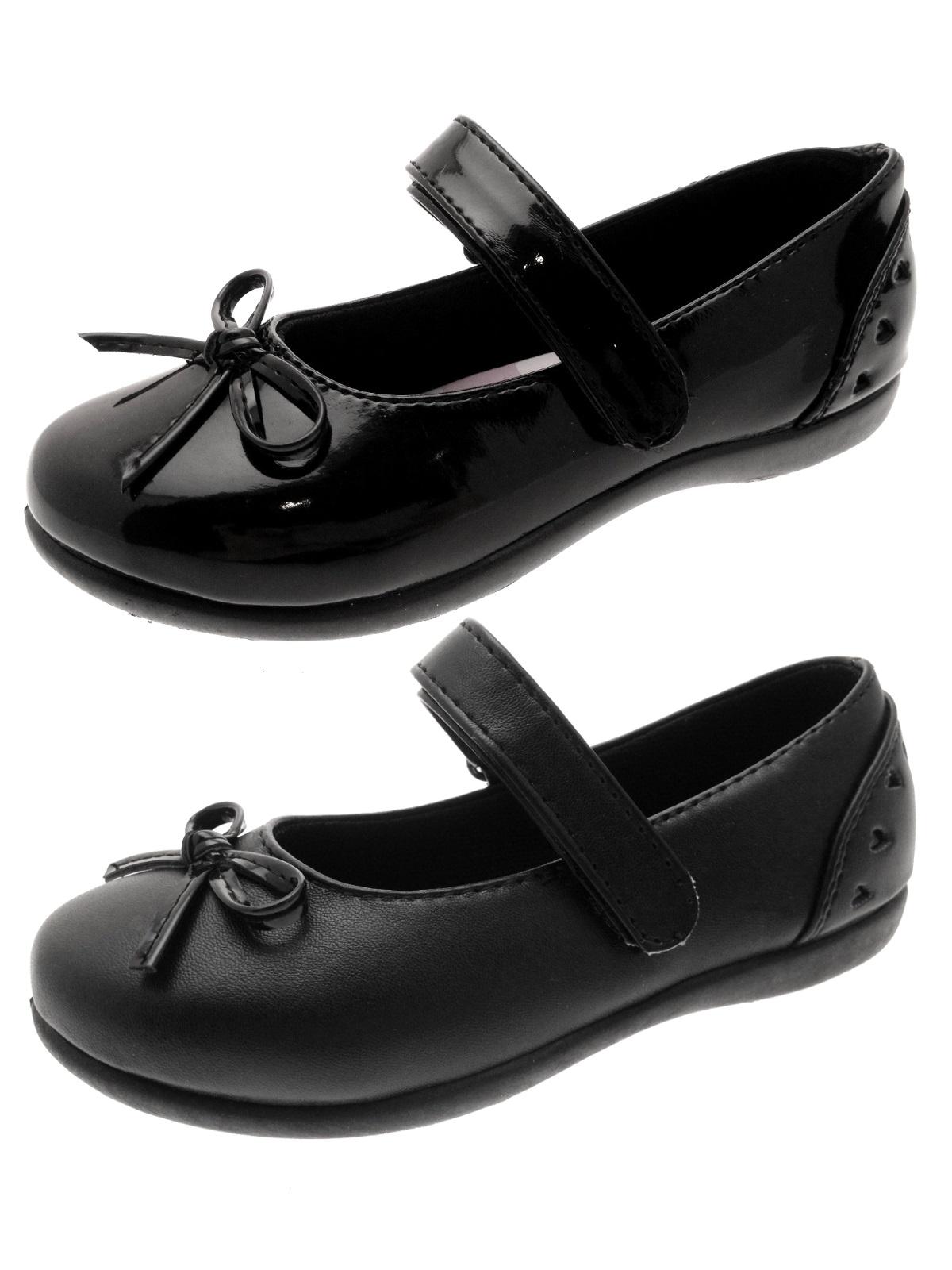 Girls Black School Shoes Faux Leather