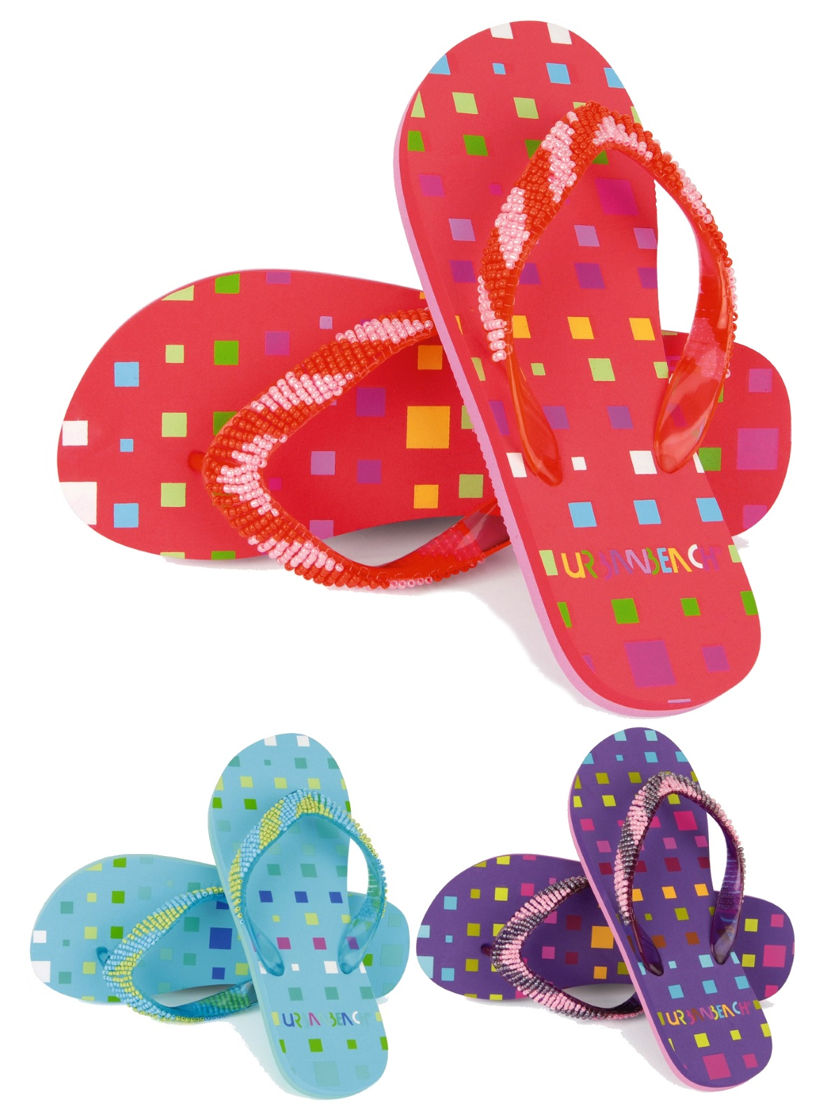 6d22a8a8229f Kids Girls Urban Beach Beaded Sandals Flip Flops Toe Posts Summer Shoes UK  10-2