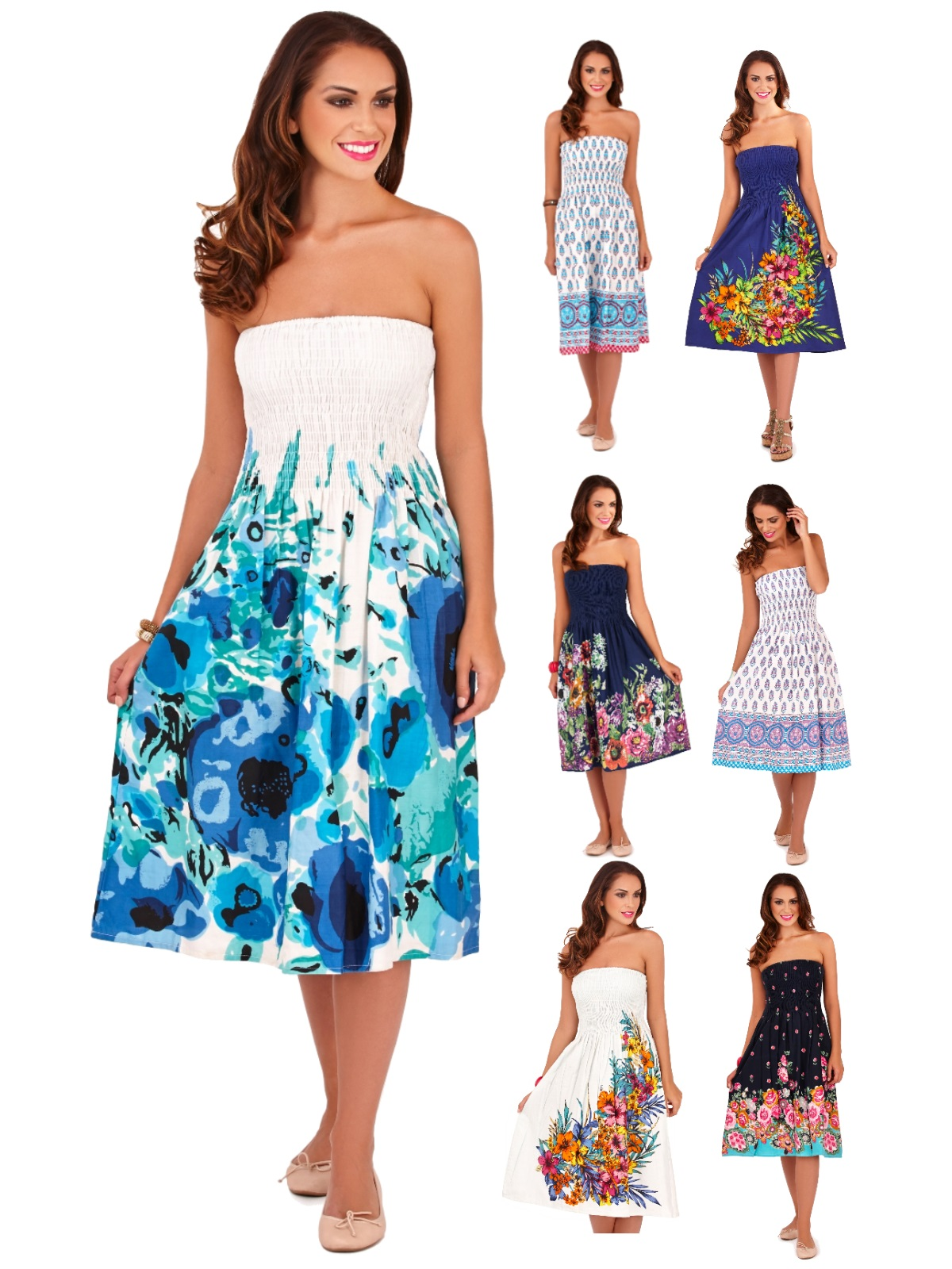 Womens 3 In 1 Strapless / Halterneck Summer Dress ...