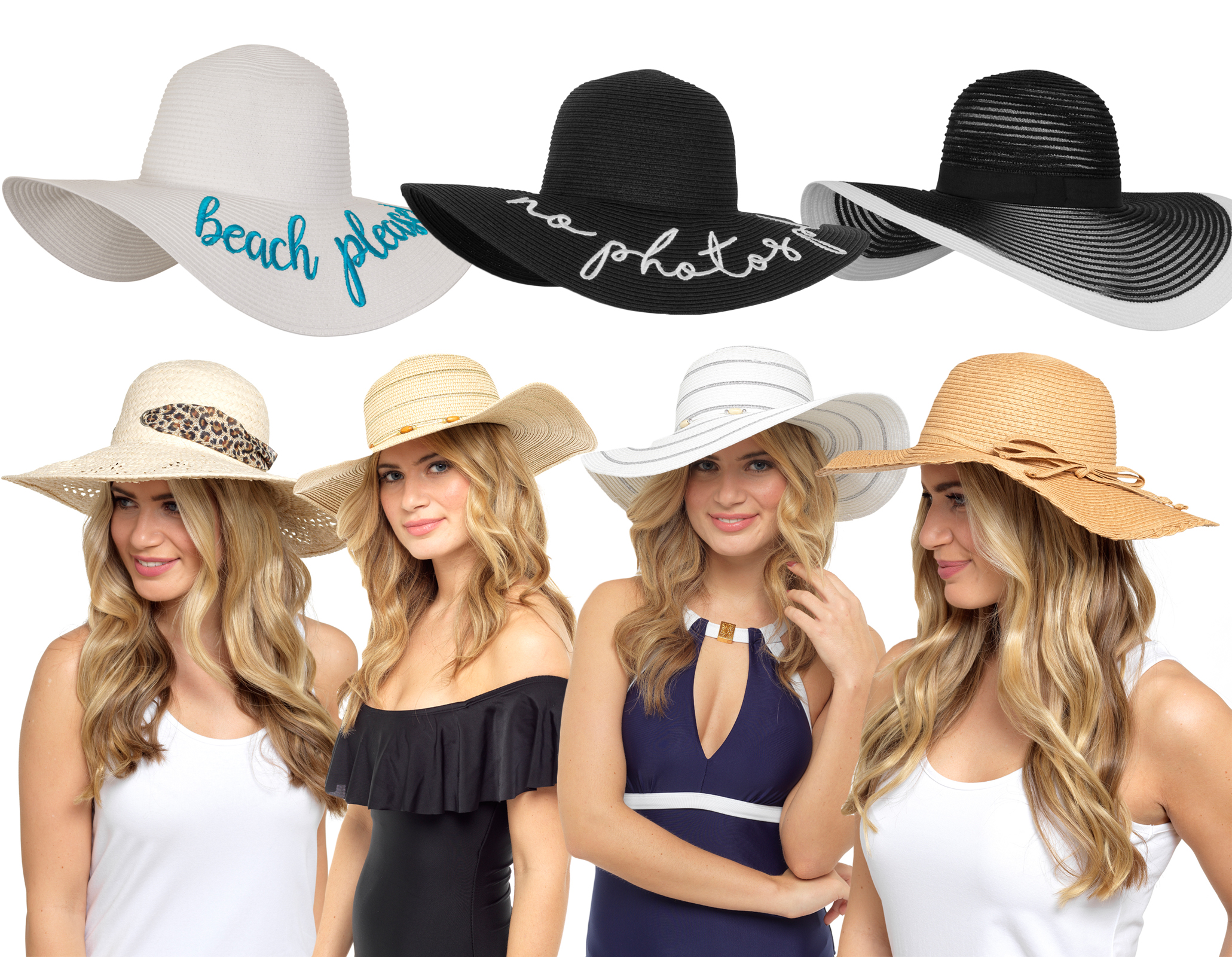 38df6f3ee841a Womens Floppy Straw Sun Hat Large Brim Summer Beach Crushable ...