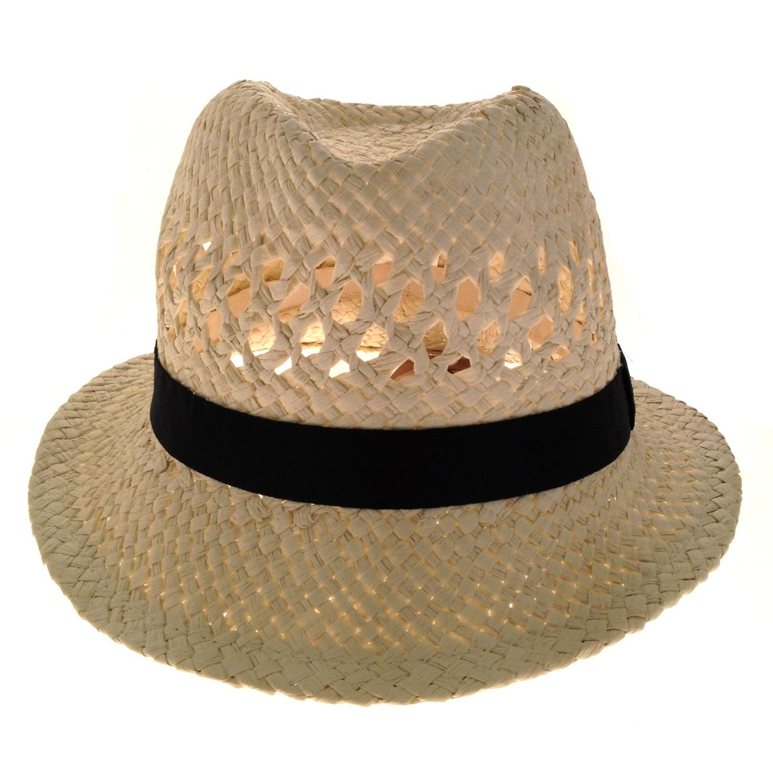 Womens Straw Summer Hat Shapeable Brim Unisex Sun Panama Fedora Mens ... f8ed4c187